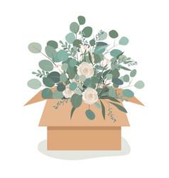beautiful luxury bouquet in a craftboard box vector image