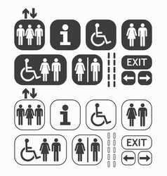 Black man and woman public access icons set vector