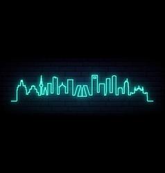 blue neon skyline madrid city bright madrid vector image