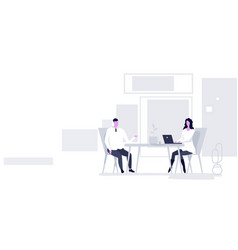 Businesspeople man woman sitting at workplace desk vector