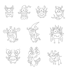 Cartoon monsters goblins ghosts vector image