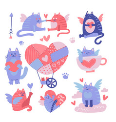 cat cupid cartoon characters set valentine s day vector image