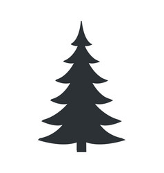 Christmas tree black silhouette icon vector
