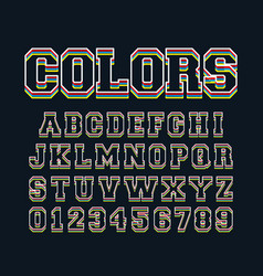 colored lines alphabet template letters and vector image