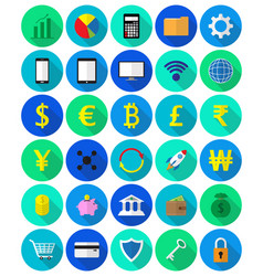 Colorful fintech flat icons on white background vector