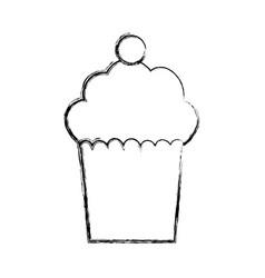 Delicious cupcake dessert vector