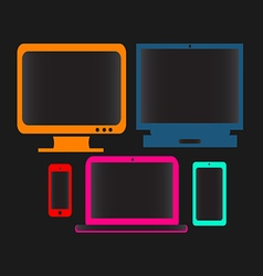 digital devices neon color vector image