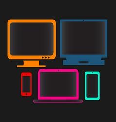 Digital devices neon color vector