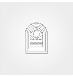 Door and ocean sunburst icon logo symbol minimal vector