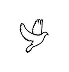 dove icon pigeon black on white background vector image