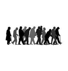 elderly seniors walking crowd silhouette people vector image