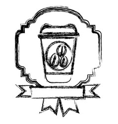 Emblem coffee plastic bottle with ribbon icon vector
