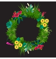 Flat colorful circular floral wreaths vector