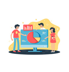 flat team works on project with help analytics vector image