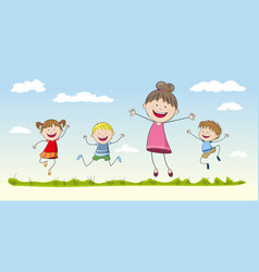 four jumping children vector image