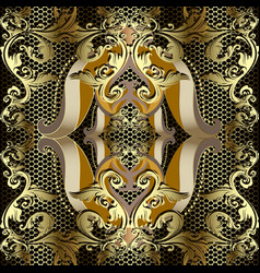 gold baroque luxury 3d seamless pattern lace vector image