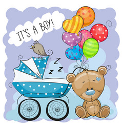 greeting card its a boy with baby carriage vector image