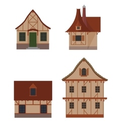 Half-timbered houses set vector
