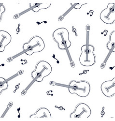 Hand drawing guitar seamless pattern print design vector
