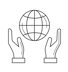 hands support earth globe line icon vector image