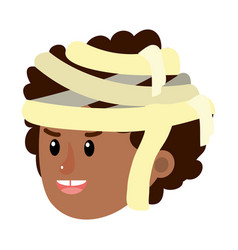 Happy boy head with mommy costume vector