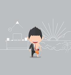 Happy face businessman a concept of balancing vector