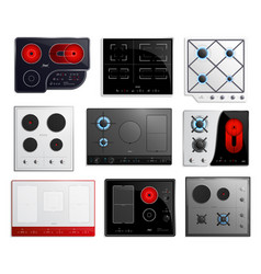 hob surfaces icon set vector image