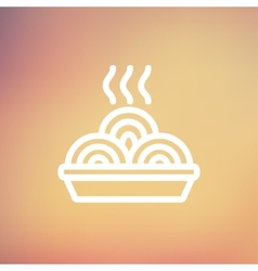 Hot meal in plate thin line icon vector image