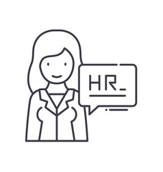 Hr department icon linear isolated vector