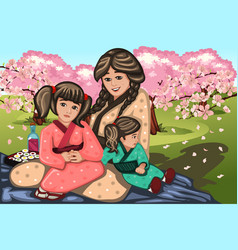 japanese woman and her children during cherry vector image