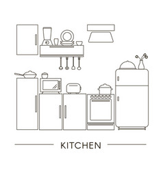 kitchen interior in line style vector image