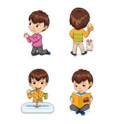 Little cute boy does casual childish actions set vector