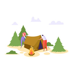 man woman put up tent forest vacation people vector image