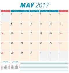May 2017 Calendar Planner for 2017 Year Week vector