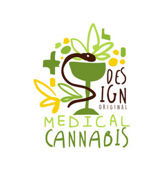 medical cannabis label original design logo vector image