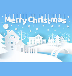 merry christmas poster with city vector image