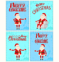 merry christmas santa claus postcard lettering vector image