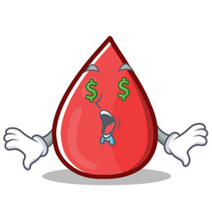 Money eye blood drop cartoon mascot character vector