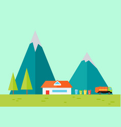 Mountains landscape in flat vector