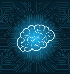 neon brain icon over blue circuit motherboard vector image