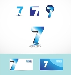 Number seven logo icon 3d vector