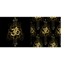 om and lotus geometric print and seamless pattern vector image