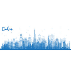 outline dubai uae skyline with blue buildings vector image