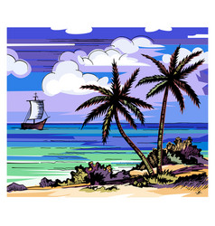 Palm trees and sea vector