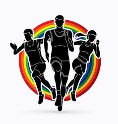 People run runner marathon running vector