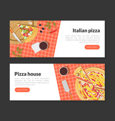 pizza delivery landing page templates set fresh vector image