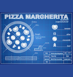 Pizza margherita ingredients blueprint scheme vector