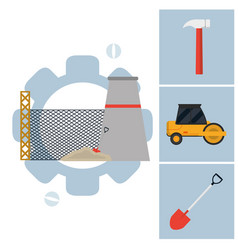 Plant industry with construction icons vector