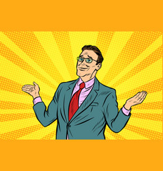 pop art sorry businessman spread his hands vector image
