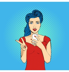 pop art woman face with open mouth holding a phone vector image